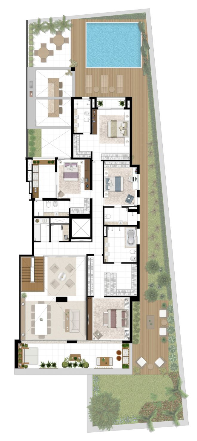 Perspectiva ilustrada da planta superior do APTO Grand Duplex - 755m²